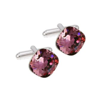 Запонки с кристаллом Swarovski Antique Pink, квадратные